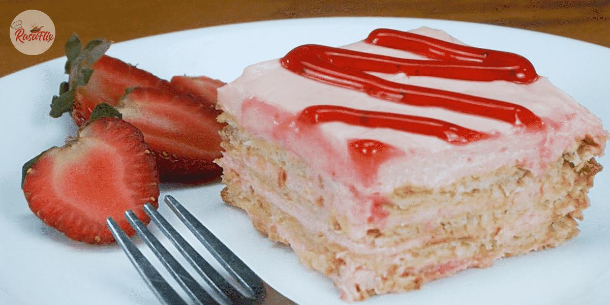 Resepi Cheesekut Strawberi | Strawberry Layered Cracker Cheesecake Recipe