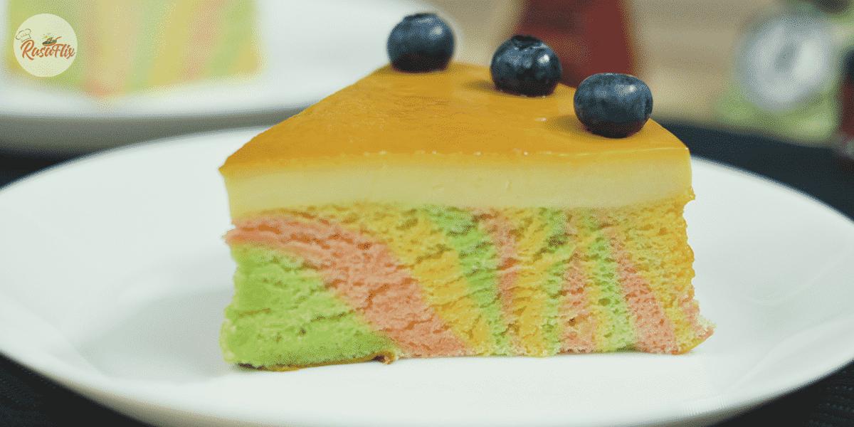 Resepi Kek Karamel Pelangi | Creme' Caramel Rainbow Cake Recipe