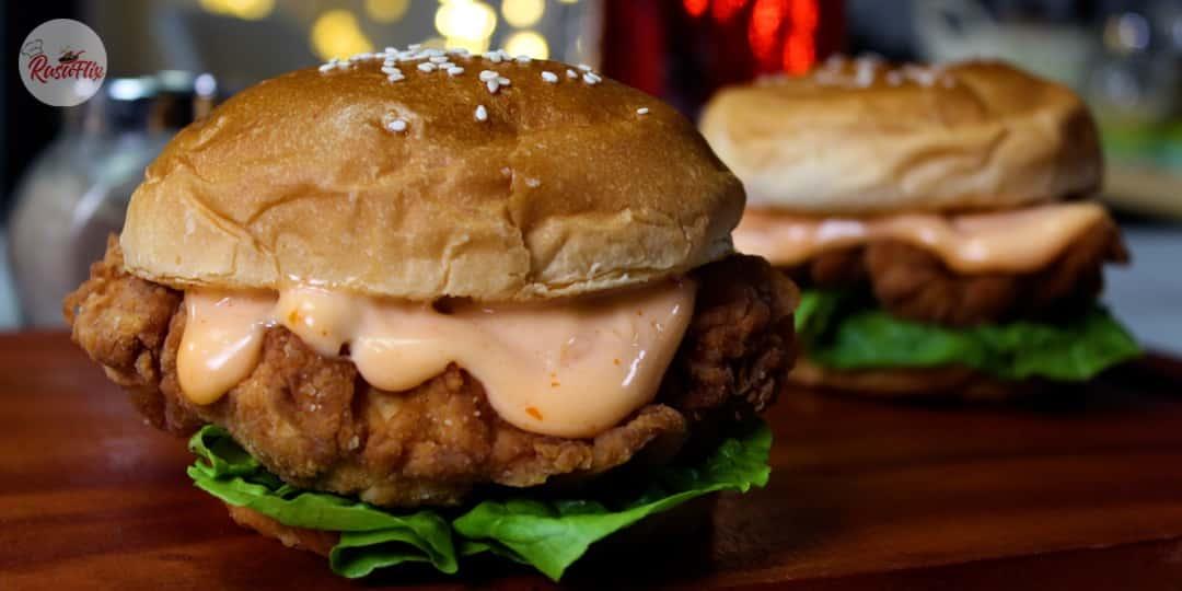Resepi Burger Ayam Rangup | Homemade Crispy Chicken Burger Recipe