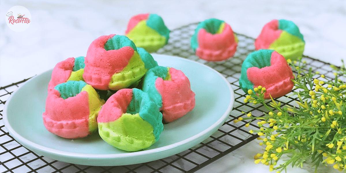 Resepi Apam Santan Pelangi Kukus | Rainbow Steamed Coconut Cupcake Recipe