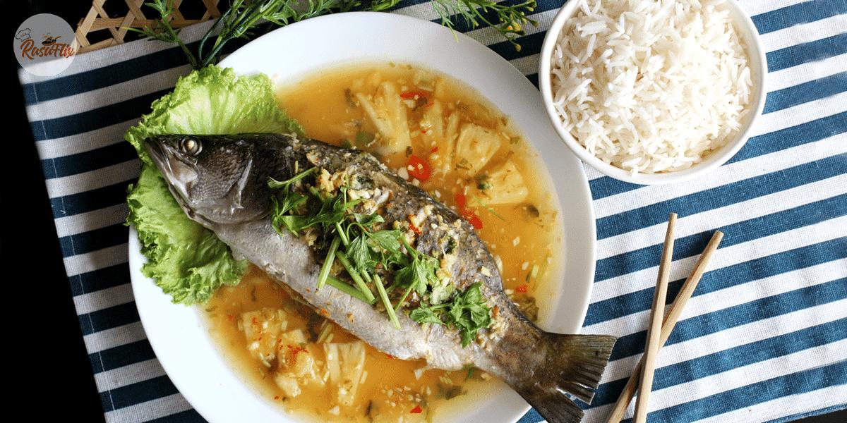 Resepi Ikan Siakap Stim Ala Thai | Thai-Style Steamed Sea Bass Recipe