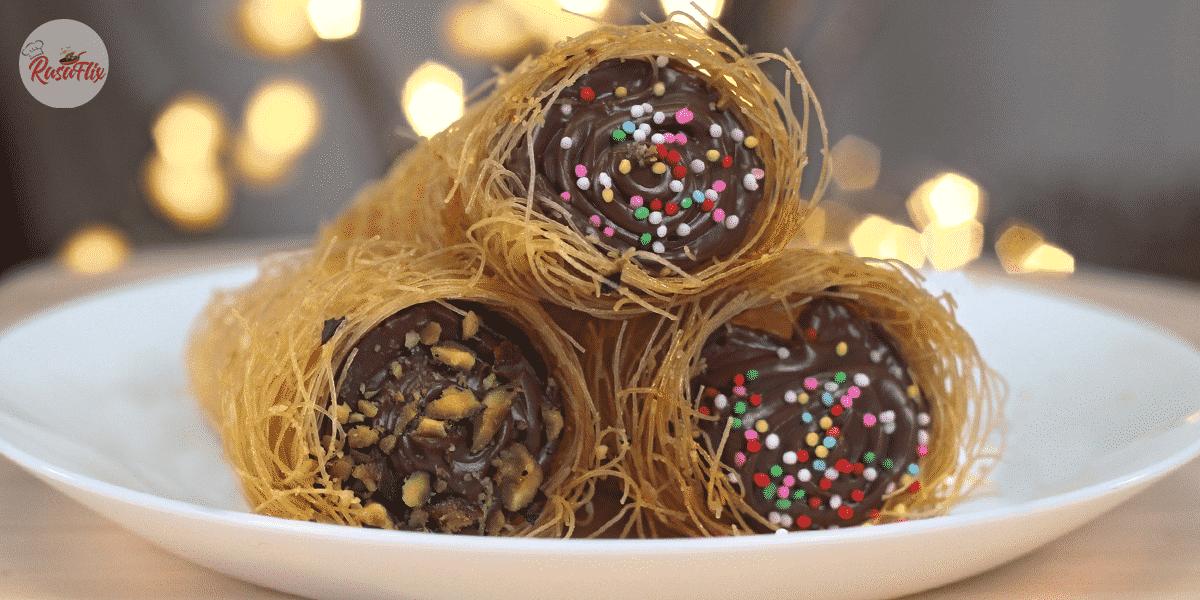 Resepi Ringkas Kon Kunafa Nutella | Simple Nutella Kunafa Cones Recipe