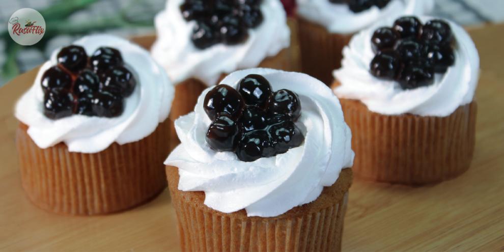 Resepi Kek Cawan Teh Susu Boba Gebu | Fluffy Boba Milk Tea Cupcake Recipe