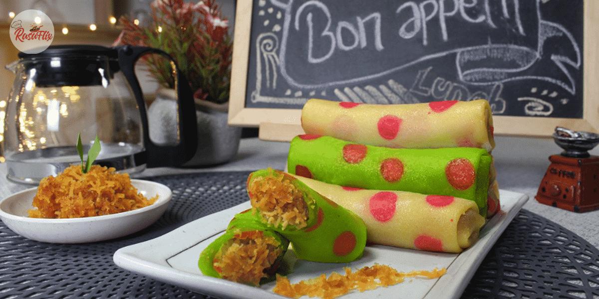 Resepi Kuih Ketayap Polkadot | Polka Dot Sweet Coconut-Filled Crepe Recipe