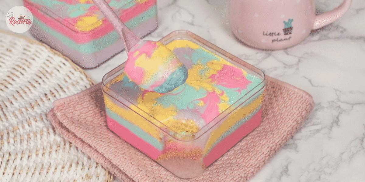 Viral Steamed Rainbow Cheese Cake Recipe