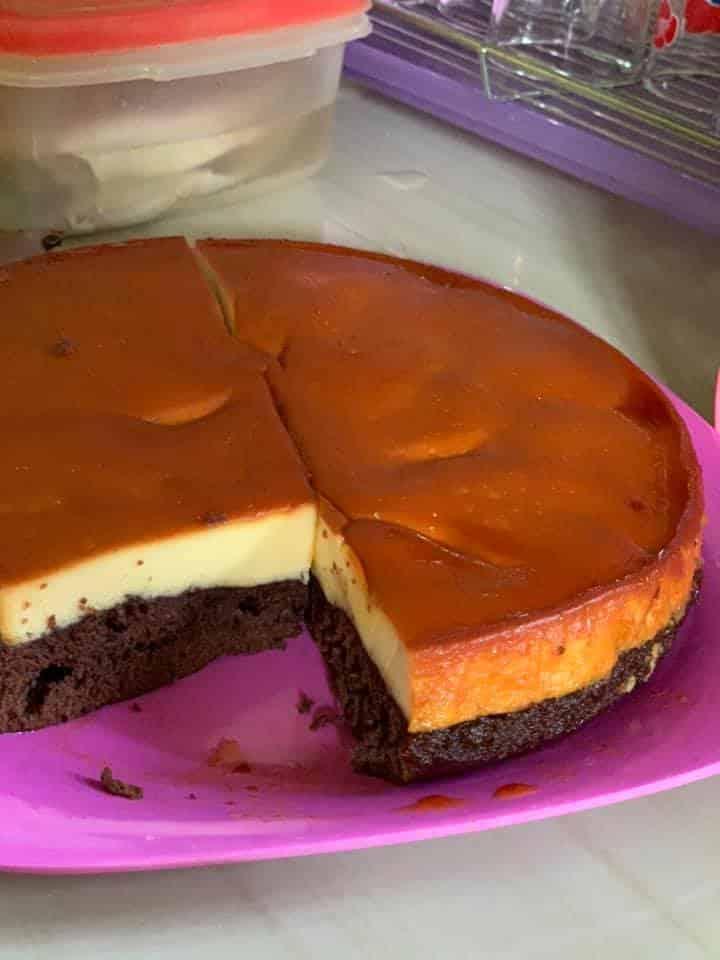 Caramel Pudding With Chocolate Cake Recipe, Tasty Dessert Under RM10!